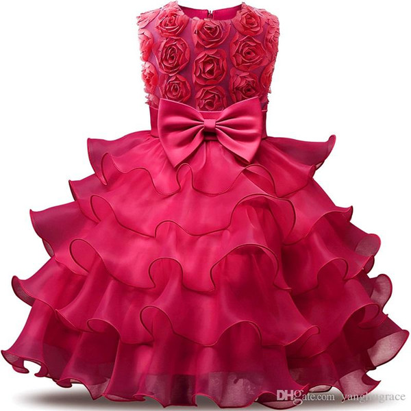 Girl's Rose Dress For Wedding Baby 0-12 Years Birthday Outfits Children's Girls Flower Dresses Girl Kids Party Prom Ball Gown With Bowknot
