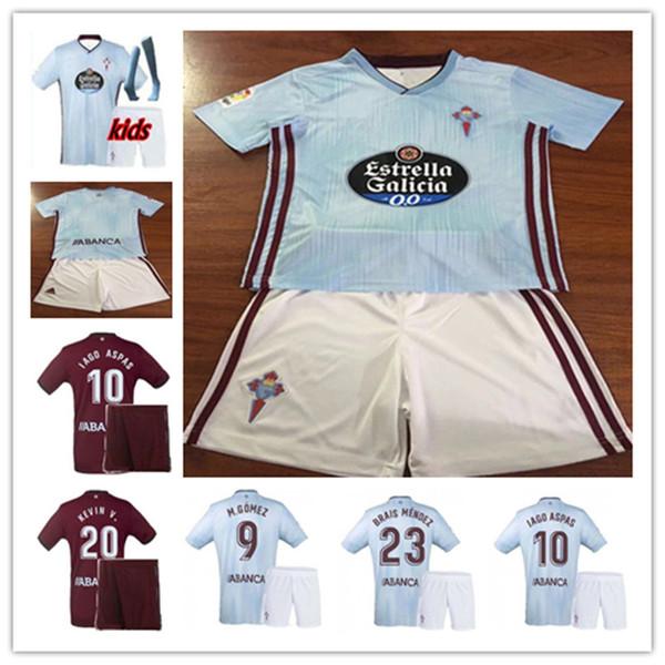 дети 19 20 Сельта Виго футбол Майки главная синий 2019 2020 рубашки # 10 Яго Аспас # 11 СИАТО футбол рубашка Таиланд