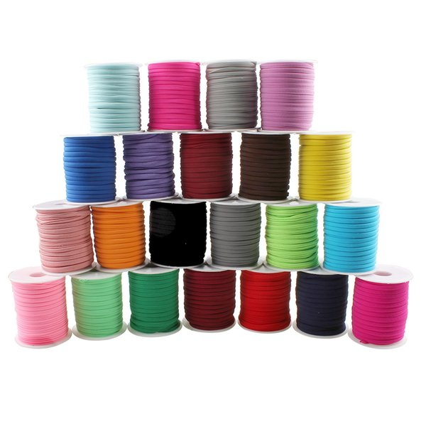 20yards Spool Rope Thread String 6x2mm Wide Flat Elastic Jewelry Making Polyester Cord 29 Color Rubber Bands Knitted Hanger Loop