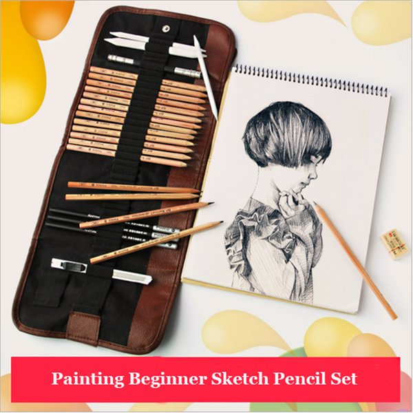 18 pcs Sketch Pencil Set Professional Sketching Drawing Kit Wood Pencil Bags For Painter School Students Art Supplies