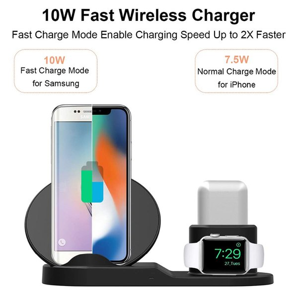 best selling New 3 in 1 10W Fast Wireless Charger Dock Fast Charging Stand For iPhone 11 X XR XS Max Watch earPods Samsung S10 note 10 plus free shipping