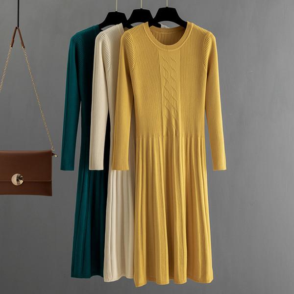 gigogou autumn winter women sweater dress mid-calf long chic female dresses a-line soft rib knitted dresses