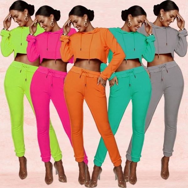 Conjuntos de pantalón con capucha para mujer pantalones de corte superior para mujer suéter legging moda sólido conjunto de 2 piezas traje deportivo casual klw1844