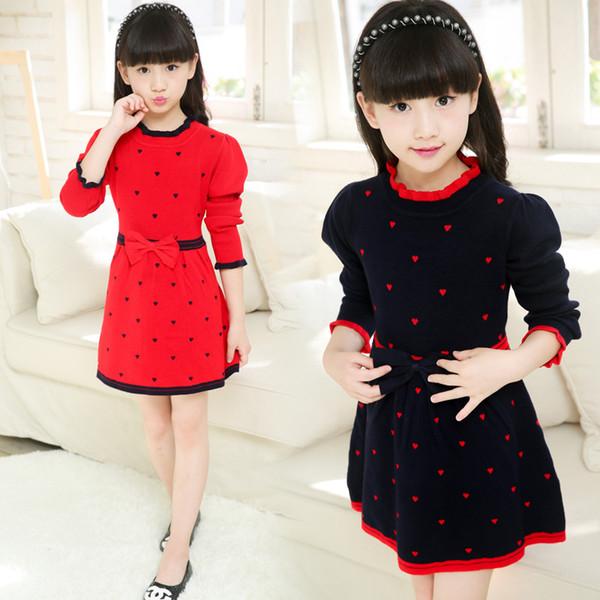 Рождество девушки сестры детские дети трикотаж платье свитера свитер корейский модная одежда наряды осень зима осень