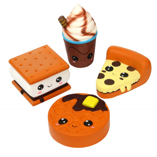 4 Pcs Squishies Big Eyes Pizza Biscuit Waffle Coffe Cup Slow Rising Scented Squishy Squeeze Squishies Toys and Gifts