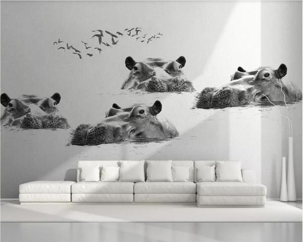 3d room wallpaper custom photo mural Nordic minimalist hippo flying bird black and white background wall paper mural wallpaper for walls 3 d