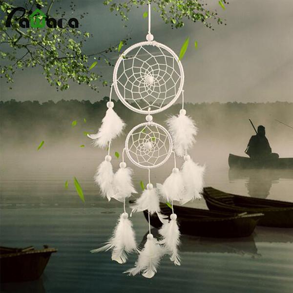 ecoration Artesanato Wind Chimes Decorações de suspensão Pawaca Branco Dreamcatcher presente Handmade Dream Catcher Net Com Penas Tapeçaria dezembro ...