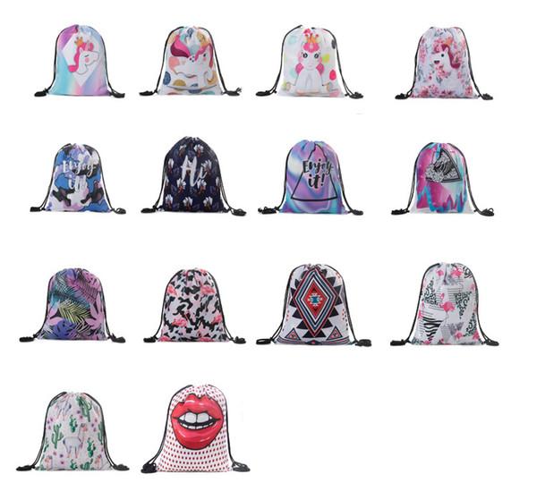 12styles unicórnio corda mochila flamingo dos desenhos animados saco de escola mulheres bolsa de grife bolsa bolsa de armazenamento de bolso para as meninas do ensino médio FFA2195
