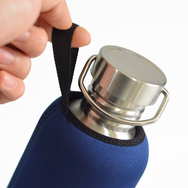 1000ml Bpa Free Stainless Steel Water Bottle Leak-proof Flask With Insulator Neoprene Bag For Yoga Biking Camping Hiking Travel Y19070303