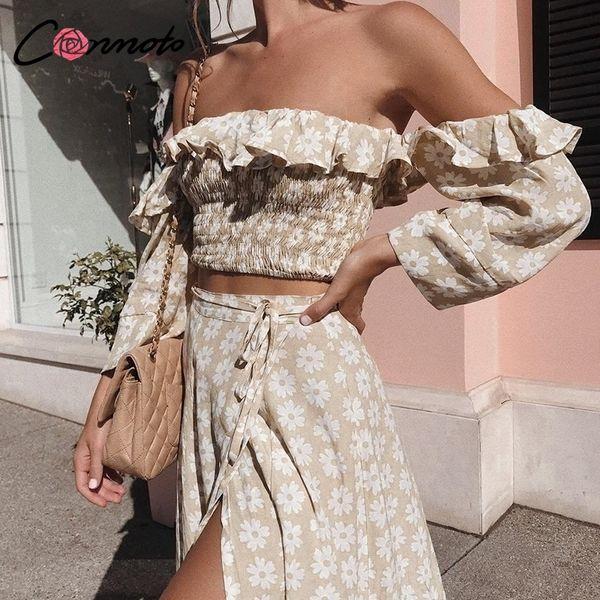 Conmoto Twist с плеча повседневная женская вечеринка платье Ruffle Beach Summer 2019 Платья женский цветочный принт платье Vestidos Y190514