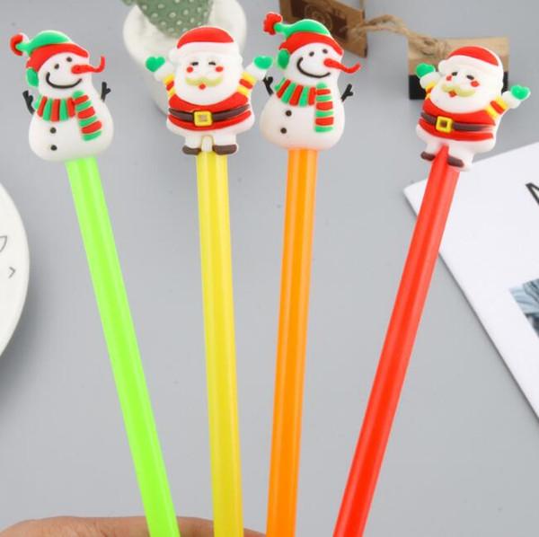 симпатичные рождественские гелевые ручки новинка черные чернила пластиковые Санта-Клаус снеговик нейтральные ручки подписание гель чернила ручки школьные канцелярские принадлежности канцелярские