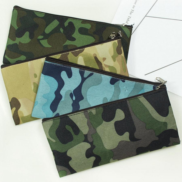 Camouflage Cosmetic Bag Pencil Bag Boys Girls Pen Storage Case Camo Zip Pouch Cosmetic Brush Holder Makeup Organizer 4styles RRA1688