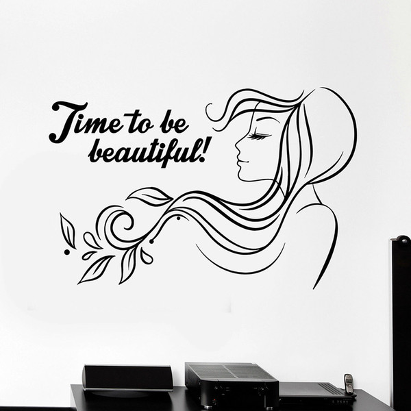 Beauty Salon Quote Vinyl Wall Decal Woman Hair Salon Wall Stickers For  Girls Room Nordic Home Decoration Self Adhesive Wall Clings For Kids Wall  ...