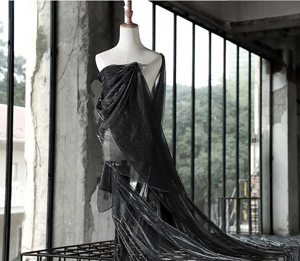 Metal preto cinza ilusão de laser oco de malha de fios de textura de renda vestido de tecido padrão de bordados remendos casamento tweed tecidos diy tecido A005