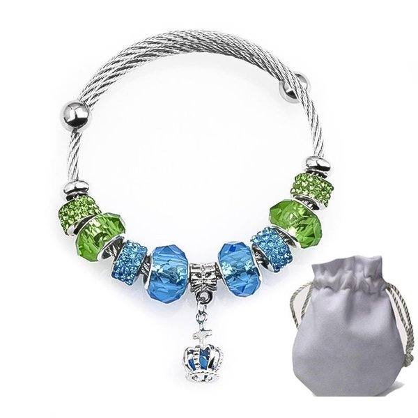 Encantos de alambre de acero pulseras Fit Pandora mujeres verde azul facetado Murano Glass Beads Bangle Cubic Zircon plata colgante de joyería
