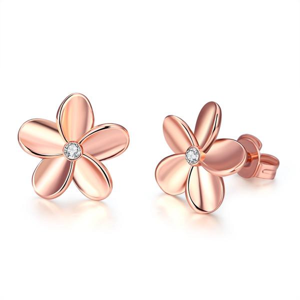 Orecchino alla moda Indietro Fiori Forma Imitazione Oro rosa e bianco Colori Gioielli Trovare Componenti orecchino Gioielli Prom Regali POTALA027