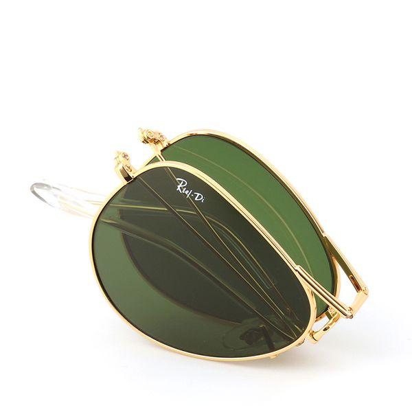 UV400 Pilot Folding Sunglasses Fashion Men Women Brand Designer Sunglasses Metal Frame Glass Lenses 58mm Gafas de sol with Original Box