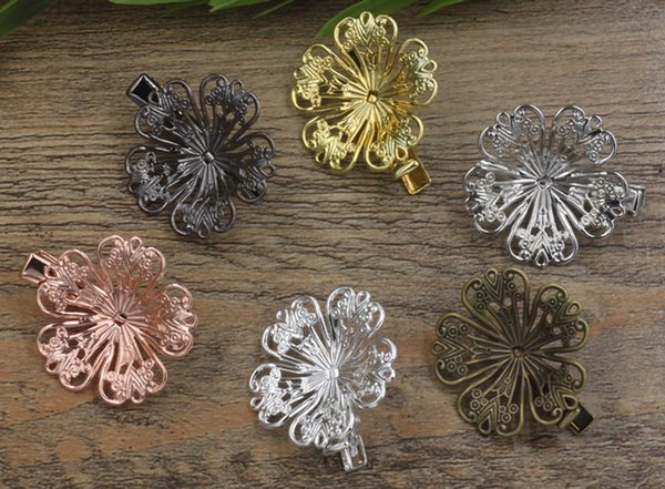 20pcs 35/32mm Rose Gold French barrettes flower hair pin Alligator clip fashion hairpin silver hairclip antique hairwear women jewelry