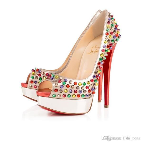 Toptan Hıristiyan Lüks Louboutin CL Marka Kadın Ayakkabı Yüksek Topuklar Nü Kırmızı Deri Sivri Elbise Ayakkabı Kutusu B7 ile 8 ile 10 cm 12cm