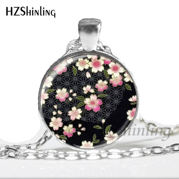 2019 New Fashion Glass Dome Pendant Cherry Blossom Necklace Girls Glass Cabochon Necklace valentine gift HZ1 NS-00253