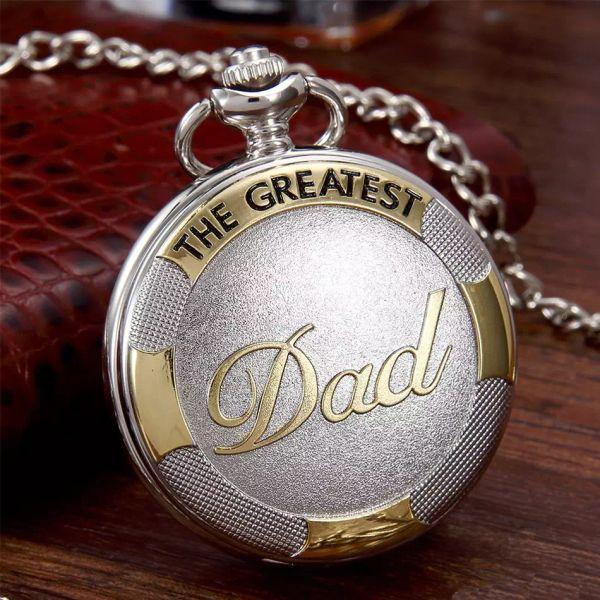 Relógio de Bolso de Prata do ouro Do Vintage Pai fob relógio com Cadeia de Quartzo mens Presentes do Dia dos Pais pendente para homens Relogio De Bolso