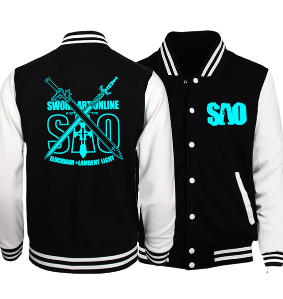 2019 Hot Sale Jacket For Men Anime Sword Art Online S.a.o Night Light Clothing Naruto Uzumaki Noctilucent Men's Jackets