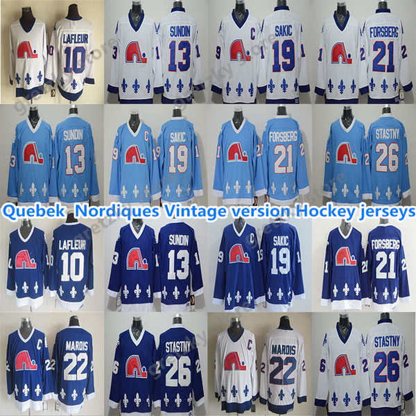 best selling Quebec Nordiques Vintage jerseys 19 SAKIC 13 SUNDIN 26 STASTNY 10 LAFLEUR 22 MAROIS 21 FORSBERG excellent CCM Hockey Jerseys
