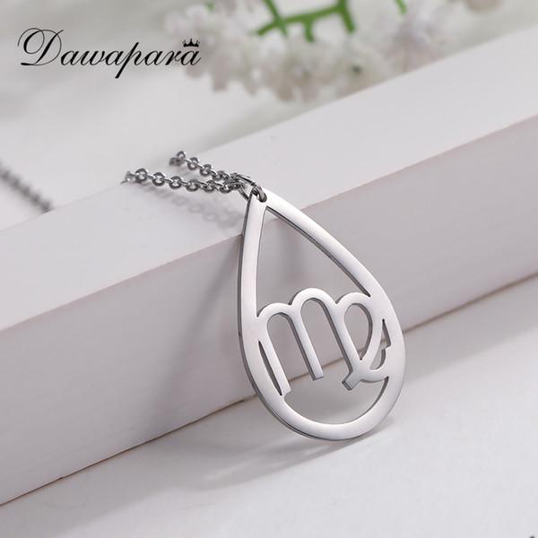 Dawapara moda pingentes de aço inoxidável oca constelação virgo na moda elo da cadeia colares colares de jóias