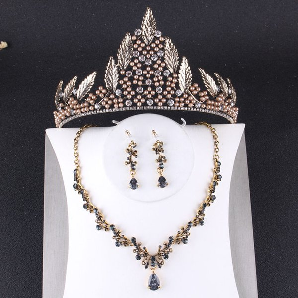 Charming Bronze Beads Bridal Jewelry Sets 3 Pieces Suits Necklace Earrings Tiaras/Crowns Bridal Accessories Wedding Jewelry Sets T305634