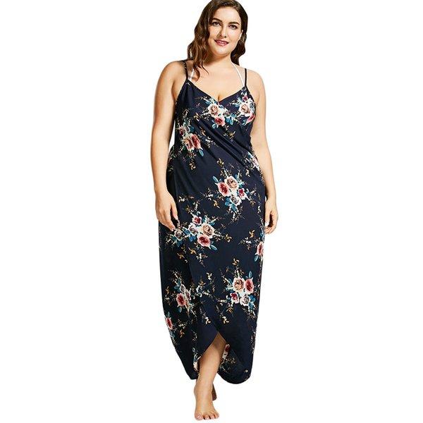aaad60abcd Gamiss Plus Size 2018 Tiny Floral Beach Print Wrap Slip Dress Tunic Robe De  Plage Wear Women Beach Sarongs Bikini Cover