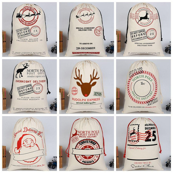 best selling Xmas Gifts Drawstring Canvas Santa Sacks Christmas Large Canvas Monogrammable Santa Claus Drawstring Bag with Reindeers DH0211