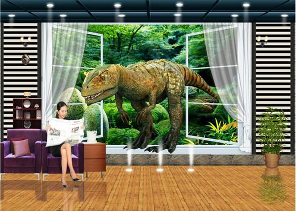 WDBH нестандартное фото 3d обои Окно девственный лес динозавр тв фон гостиная домашний декор 3d фрески обои для стен 3 d