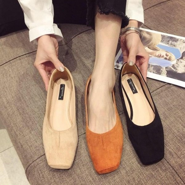 Current2019 Morning! Good Square Soft Velvet Noodles In Mouth Single Shoe Joker Flat Bottom Level With Women's Singles Shoes