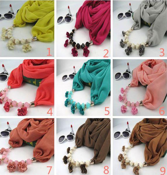 Fabric Flowers Pendant Scarves Classic Natioanl Ethnic Muslim Scarf 2019 Spring and Autumn Fashion Women Plain Chiffon Wrap Wholesale LSF091