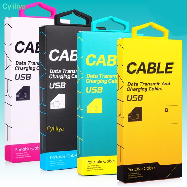 USB charging data cable retail package box fashion universal for charger micro usb type C paper box packaging for samsung huawei cell phones