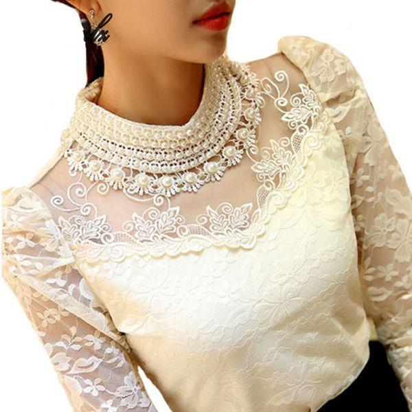 Langer eleganter Hülsen-Bodysuit wulstige Frauen-Spitze-Blusen-Hemden-Häkelarbeit-Oberseiten-Blusas Ineinander greifen-Chiffon- Blusen-weibliche Kleidung