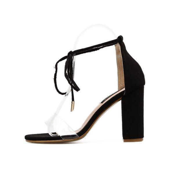 Venda quente-Novidade Quente Moda Preto Apricot Bloco Aberto Do Dedo Do Pé Quadrado Sapatos de Salto Alto Mulher Sandálias Transparentes Sandalias Zapatos Mujer