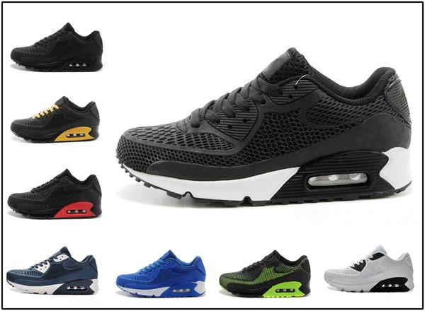 Acheter Nike Air Max Airmax 90 Hommes Chaussures De Course Infrarouge Patch Triple Noir Blanc Laser Rose Oreo Respirant Formateur Femmes Sports En
