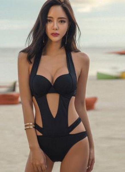 Черное Бикини для Женщин Летняя Мода Выдалбливают Купальники Бикини Дизайнерские Купальники One Piece Suits