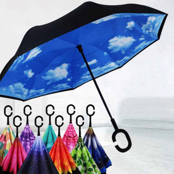 best selling Wholesale Special Design Inverted Umbrellas With C Handle Double Layer Inside Out Windproof Beach Reverse Folding Sunny Rainy Umbrella