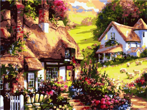 16x20 inches Small Villas Beside the Mountain Spring Scenery DIY Paint By Numbers Kits On Canvas Art Acrylic Oil Painting