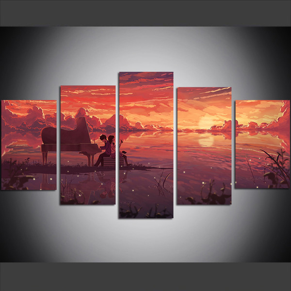5 Piece Large Size Canvas Wall Art Pictures Creative Piano, Sunset Anime Art Print Oil Painting for Living Room