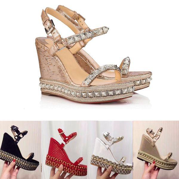 Designers Red Bottom Platform Wedge Sandálias Espadrille sapatos de salto alto das mulheres sandálias de verão de prata de couro coberto de glitter US4-11