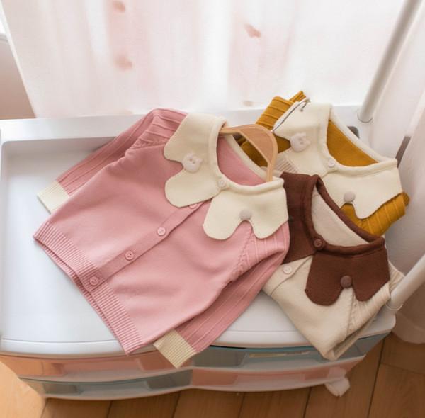 2019 Spring little kids sweater cardigan children cartoon bear applique petal lapel long sleeve knitted outwear baby girls clothing F3591