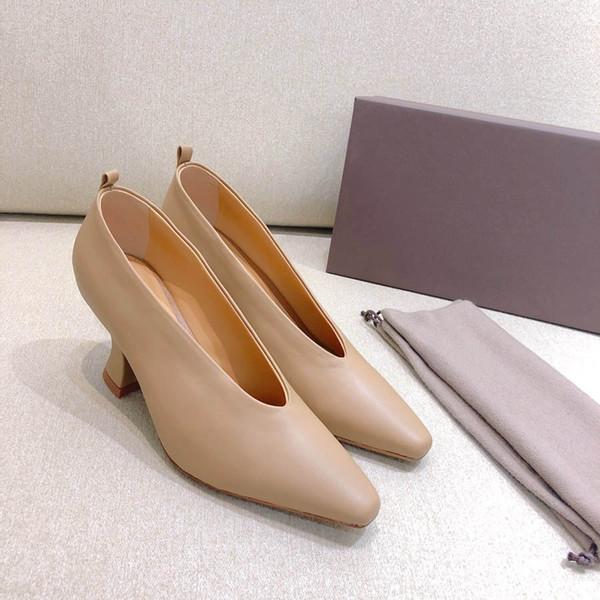 BV Basit Tasarım Üst Kalite Büyükanne Üzerinde Kayma Pompaları Bayanlar Grace Rahat Kuzu Derisi Tasarımcı 7.5 cm Midilli Topuklu Eldiven ayakkabı
