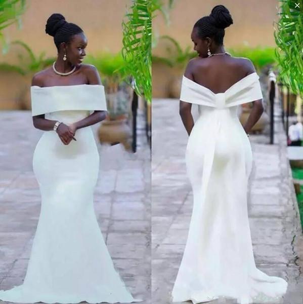 Простые Саудовская Аравия 2020 Свадебные платья плюс размер с плеча атласная молния русалка аппликация Ruch свадебное платье свадебные платья дешево