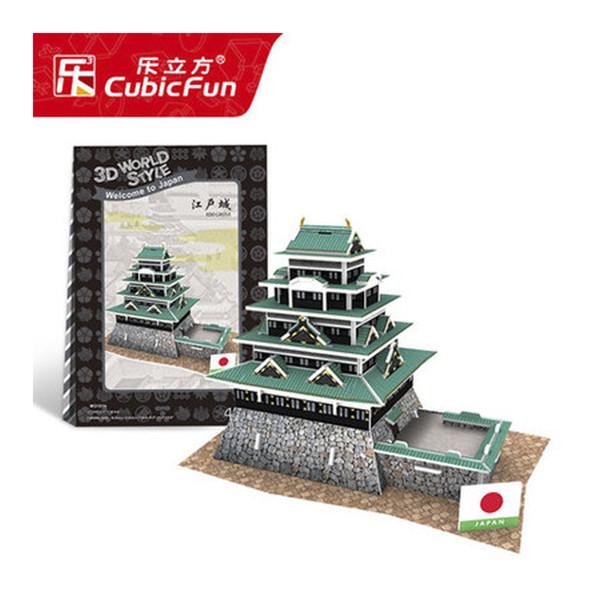 T66 3D Puzzle Japan, Edo Castle DIY Creative gift Educational toys World style tour construction paper model