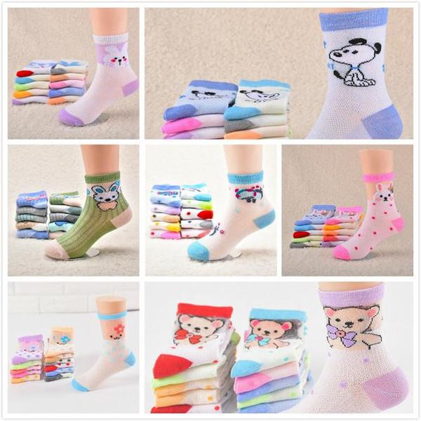 7 Diseños Niños Niñas Otoño Invierno de punto de dibujos animados calcetines de algodón suave calcetines bebé caramelo colores mezclado calcetín envío gratis