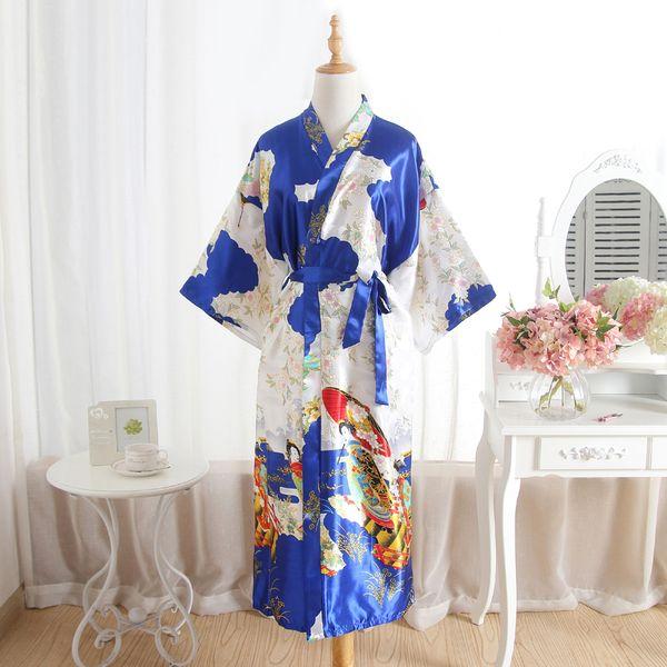 Plus Size Blau Mode Damen Sommer Sexy Kimono Lange Robe Badekleid Rot Frauen Rayon Yukata Nachthemd Pijama Mujer Mds008