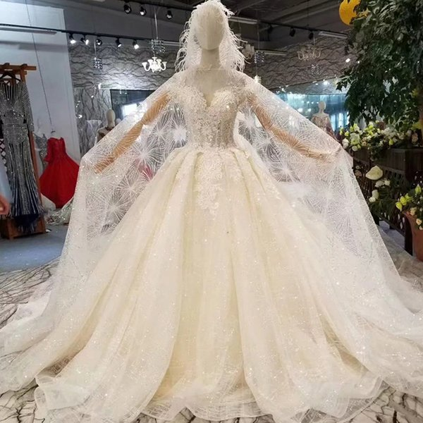 Hood Style Wedding Dress With Cape Off The Shoulder Sweetheart Wedding Gown Light Champagne With Shiny Transparent Hood 2019 Fashion Bridal